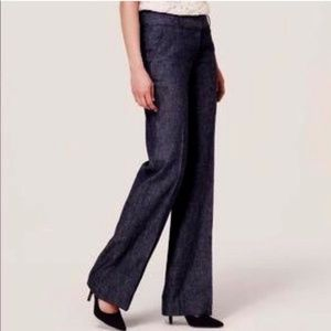 Loft Marissa Stretch Navy Trouser Pants Denim Look